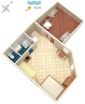 Arbanija, Plan kwatery w zakwaterowaniu typu studio-apartment, WIFI.