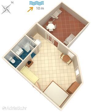 Arbanija, Plan in the studio-apartment, WIFI.