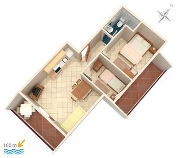 Vinišće, Plan kwatery w zakwaterowaniu typu apartment, WIFI.