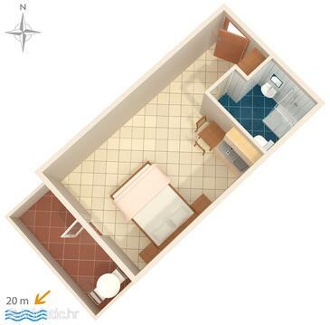 Stomorska, Půdorys v ubytování typu studio-apartment, domácí mazlíčci povoleni.