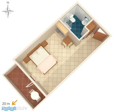 Stomorska, Plan in the studio-apartment, dopusteni kucni ljubimci.