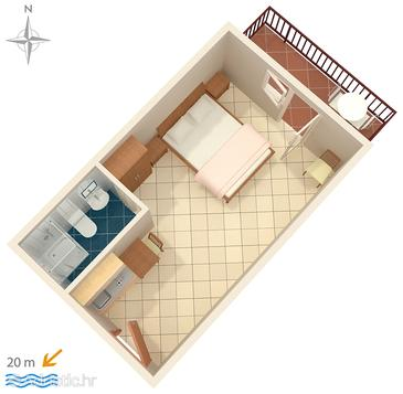 Stomorska, Plan in the studio-apartment, (pet friendly).