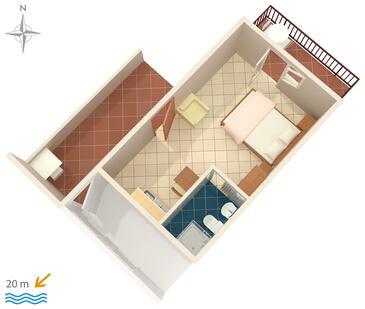Stomorska, Plan kwatery w zakwaterowaniu typu studio-apartment, dopusteni kucni ljubimci.
