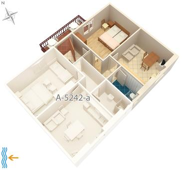 Milna, Plan kwatery w zakwaterowaniu typu apartment, WIFI.