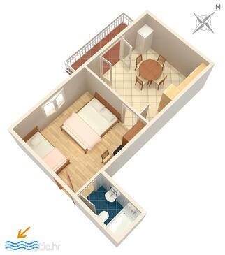 Omiš, Půdorys v ubytování typu apartment, WiFi.