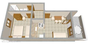Metajna, Půdorys v ubytování typu apartment, domácí mazlíčci povoleni a WiFi.