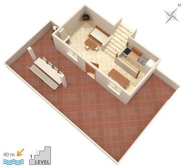 Rastići, Plan kwatery w zakwaterowaniu typu apartment, WIFI.
