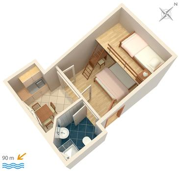 Igrane, Plan kwatery w zakwaterowaniu typu studio-apartment, WIFI.
