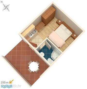 Metajna, Půdorys v ubytování typu studio-apartment, domácí mazlíčci povoleni a WiFi.