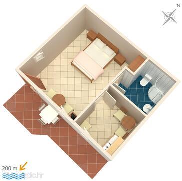 Medići, Plan in the studio-apartment, dopusteni kucni ljubimci.