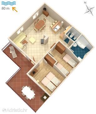 Malinska, Půdorys v ubytování typu apartment, WiFi.