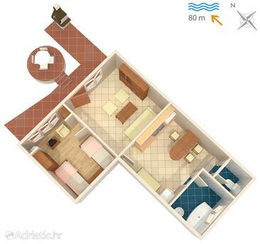 Malinska, Nacrt u smještaju tipa apartment, kućni ljubimci dozvoljeni i WiFi.