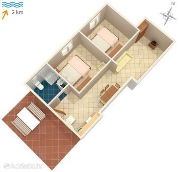 Sveti Anton, Plan in the apartment, WIFI.