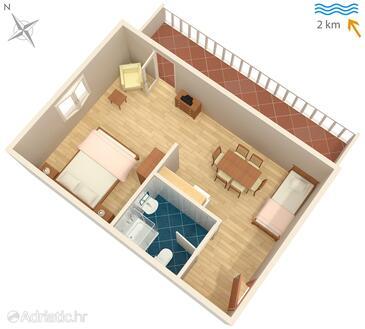 Sveti Anton, Plan in the studio-apartment, WIFI.