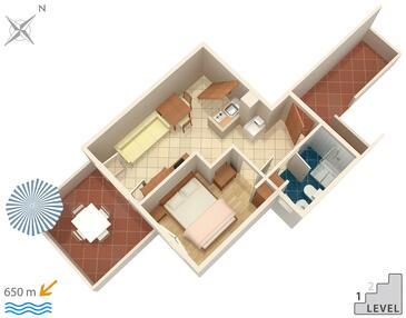 Krk, Načrt v nastanitvi vrste apartment, WiFi.