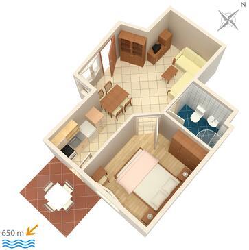 Krk, Půdorys v ubytování typu apartment, WIFI.