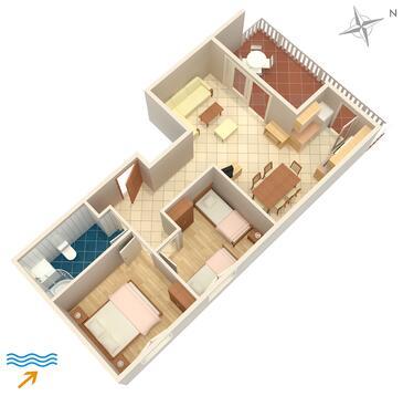 Njivice, Půdorys v ubytování typu apartment, WiFi.