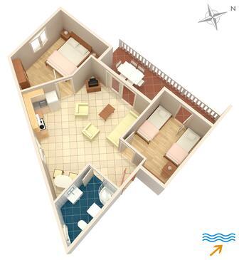 Njivice, Plan dans l'hébergement en type apartment, WiFi.