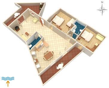 Vrbnik, Plan kwatery w zakwaterowaniu typu apartment, zwierzęta domowe są dozwolone i WiFi.
