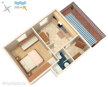 Malinska, Plan in the apartment.
