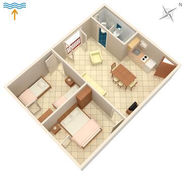 Njivice, Plan in the apartment, dopusteni kucni ljubimci.