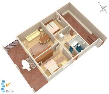 Njivice, Pôdorys v ubytovacej jednotke apartment, domáci miláčikovia povolení a WiFi.