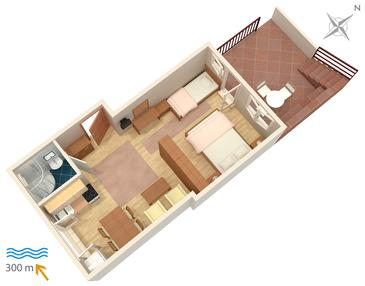 Njivice, Plan in the studio-apartment, dopusteni kucni ljubimci i WIFI.