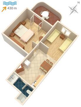 Vantačići, Načrt v nastanitvi vrste apartment, WiFi.