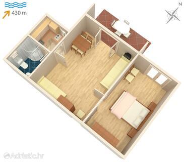 Vantačići, План в размещении типа apartment, WiFi.