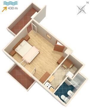 Vantačići, Půdorys v ubytování typu studio-apartment, WiFi.