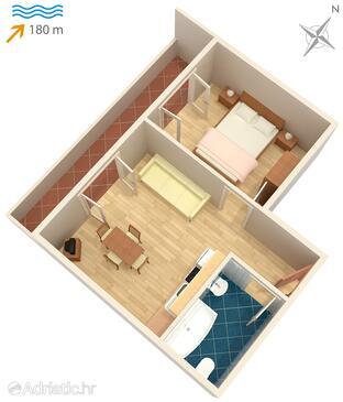 Pag, Půdorys v ubytování typu apartment, WiFi.