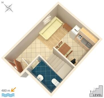 Njivice, Plano in the apartment, (pet friendly) y WiFi.