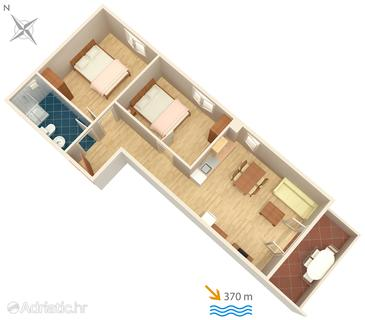 Baška, Plan in the apartment, dopusteni kucni ljubimci i WIFI.