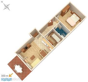 Punat, Pôdorys v ubytovacej jednotke apartment, domáci miláčikovia povolení a WiFi.