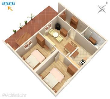Punat, Půdorys v ubytování typu apartment, domácí mazlíčci povoleni a WiFi.