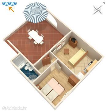 Punat, Plan in the apartment, dopusteni kucni ljubimci i WIFI.