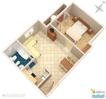 Baška, Plan in the apartment, WIFI.
