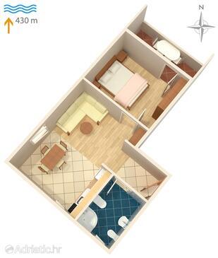 Vantačići, Plan dans l'hébergement en type apartment, WiFi.