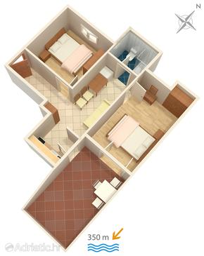 Novalja, Plan in the apartment, dopusteni kucni ljubimci.