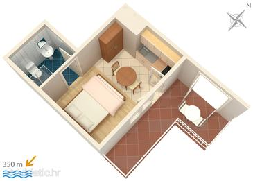 Novalja, Plan in the studio-apartment, dopusteni kucni ljubimci.