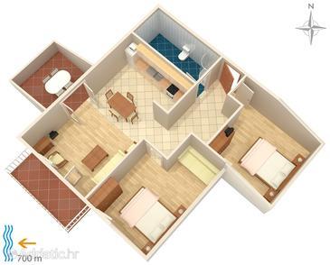 Njivice, Nacrt u smještaju tipa apartment, kućni ljubimci dozvoljeni i WiFi.
