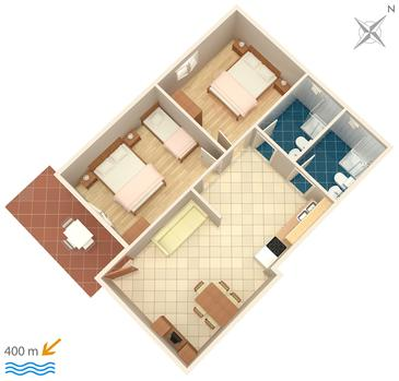 Krk, Půdorys v ubytování typu apartment, domácí mazlíčci povoleni.