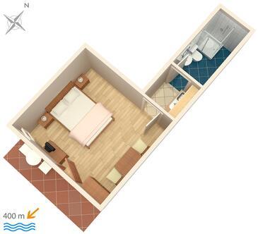 Krk, Půdorys v ubytování typu studio-apartment, domácí mazlíčci povoleni.