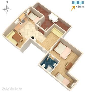Vantačići, Plan in the apartment, dopusteni kucni ljubimci i WIFI.