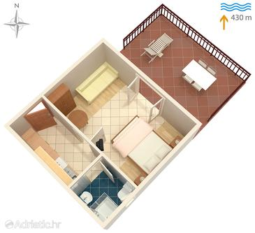 Vantačići, Plan in the studio-apartment, dopusteni kucni ljubimci i WIFI.