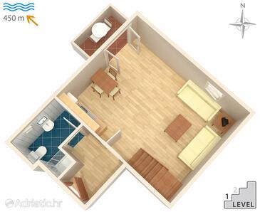 Malinska, Plan in the apartment, dopusteni kucni ljubimci i WIFI.
