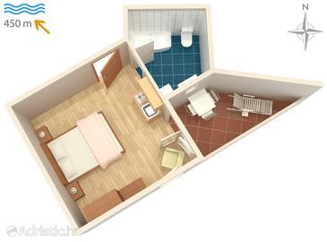 Malinska, Plan in the studio-apartment, dopusteni kucni ljubimci i WIFI.