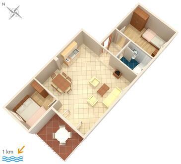 Malinska, Plan kwatery w zakwaterowaniu typu apartment, WIFI.