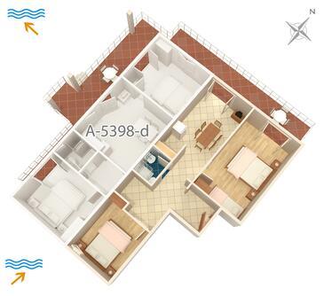 Njivice, Pôdorys v ubytovacej jednotke apartment, dopusteni kucni ljubimci i WIFI.