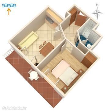 Njivice, Půdorys v ubytování typu apartment, domácí mazlíčci povoleni a WiFi.
